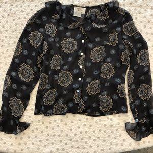 Tess 100% Silk Floral ruffle blouse size 8 Grey